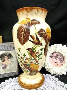 ANTIQUE large Bristol vase victorian glass painted f birds and blossoms stunning Vases For Sale, Selling Antiques, Milk Glass, Textures Patterns, Bristol, Blossoms, Victorian, Birds, This Or That Questions