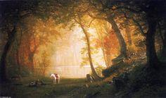 Un repos sur le Tour, huile sur toile de Albert Bierstadt (1830-1902, Germany)