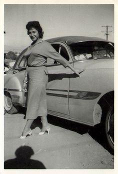 Chick with a 1952 Pontiac
