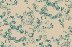 Daks (2000-3) - Tres Tintas Wallpapers - A pretty floral trail in a random pattern, of leaves and flowers in multi shades of blues and greens on a dark neutral stone background. Please request sample for true colour match.