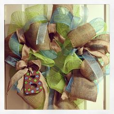 Mesh and burlap wreath for baby boy Brody