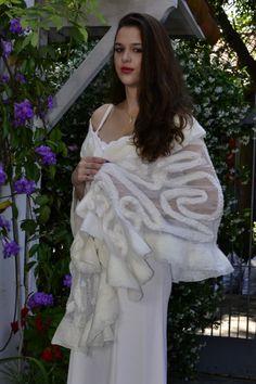 Hollywood Diva Wedding Wrap/Shawl  Nuno felted lacy by FeltNatural, $100.00
