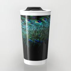 """Peacock Details Travel Mug by ARTbyJWP from Society6 #mugs #travelmug #metalmug #feather #peacock ---   Take your coffee to go with a personalized ceramic travel mug.  Double-walled with a press-in suction lid, the two-piece (12oz) design ensures long lasting temperatures while minimizing the risk of spillage from kitchen to car to office. Standing at just over 6"""" tall with wrap around artwork, safely sip hot or cold beverages from this one of a kind mug."""
