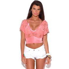 Lace Kimono Sleeve CropTop This cute lace top is a must-have in every wardrobe! Bring a little Miami bike to town with chiffon wide leg pants or dress up with a pair of dressy high waisted shorts or miniskirt, double waist band ensures great fit and structure. Designed to ensure the shoulder part stays in place while you can have the sexy V-neck and open! Online. Slightly sheer. 60% rayon. 38% nylon. 2% spandex. Made in USA.  2⃣ Available Tops Crop Tops