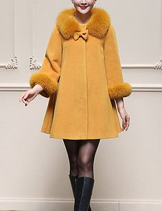 Women's Daily Plus Size Simple Casual Street chic Winter Coat,Solid Peter Pan Collar Long Sleeve Regular Wool Bow