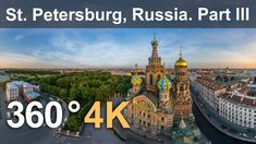 360°, Church of the Savior on Blood, Saint Petersburg, Russia. 4K aerial...
