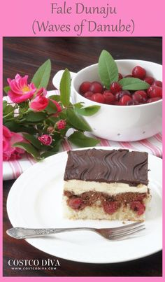 """In Polish this cake is called Fale Dunaju, which means Waves of Danube. One reason why it is named that is because the cherries sink in the cake, creating the appearance of waves and the chocolate topping also has waves. As for """"Danube"""" it was a cake that was popular for those who lived along the Danube river in Europe. In Poland this cake is still popular for birthdays, name days etc. and can be prepared with other types of fruit. However the classic version makes use of sour cherries."""