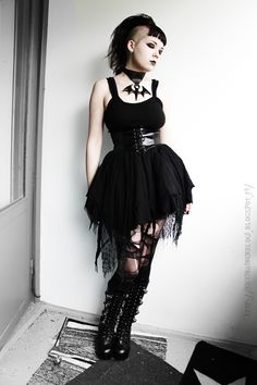 I really like her hair Gothic #goth #black
