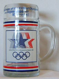 1984 Olympic Glass Handled souvenir Mug by theevintageshop on Etsy, $8.00...... Xmas gifts under 10.00.....