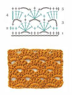 Diagrama en crochet que se teje en hileras.