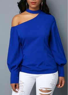 504fef5e83246e Royal Blue Long Sleeve Cutout Shoulder Blouse