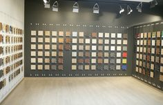This showroom wall display was installed utilizing Albion's cable display system. http://signdesignsystems.com