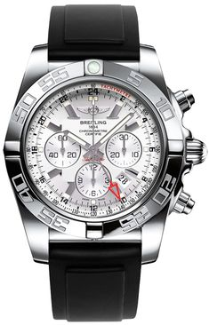 Breitling Windrider Chronomat GMT Auto Men Silver Dial Brown Leather Strap Watch AB041012/G719 Free Overnight Shipping