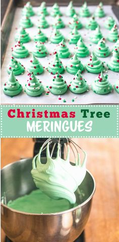 Christmas Tree Meringue Cookies Christmas Tree Meringues are festive, fun and make a light airy addition to a cookie plate this time of year. Naturally dairy-free and gluten-free. - Christmas Tree Meringues via Inquiring Chef Christmas Deserts, Christmas Goodies, Christmas Candy, Christmas Tree Food, Christmas Tree Cupcakes, Christmas Tables, Nordic Christmas, Modern Christmas, Family Christmas