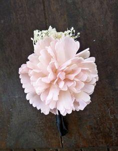Blush Carnation Boutonniere- Made to Order Groom, Groomsmen, Sola Flower, Wedding, Wedding Flowers, Shabby Chic Wedding, Rustic Wedding