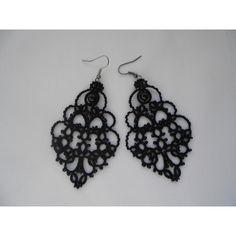 Black lace earrings, black earrings with black agat, tatted earrings,... ($24) via Polyvore featuring jewelry, earrings, filigree earrings, light weight earrings, earring jewelry, lace earrings and lightweight earrings