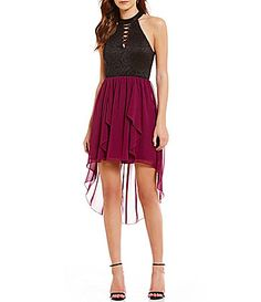6d71c3b2042 Jodi Kristopher High Neck Lace Color Block Lace-Up Detail Ruffle High-Low  Hem Dress