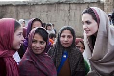 Angelina Jolie meets schoolgirls in a village in Afghanistan. She has been named Special Envoy of UNHCR chief, António Guterres.   UNHCR/J.Tanner