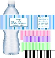 Striped Baby Shower Water Bottle Labels
