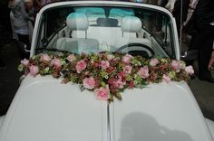 Awesome Wedding Car Decorations Ideas The complex decoration is an important enhancement to the party scene, especially for a show like a bath. It is recommended that the ornaments are easy to assemble. Car Decoration today is an impor… Wedding Car Decorations, Flower Decorations, Floral Wedding, Wedding Flowers, Wedding Day, Bridal Car, Wedding Designs, Perfect Wedding, Flower Arrangements