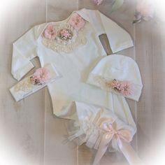 Newborn Girl Ivory Take Home Outfit Newborn by PoshBabyBlooms