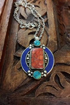 Raw stone jewellery -Tibetan jewelry  - Tibetan pendant -silver  artisan pendant -ethnic necklace-  turquoise stone and coral mosaic shaving by Omanie on Etsy