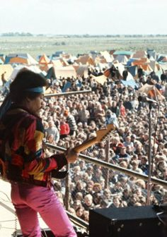 Jimi Hendrix performing at the Open Air Love & Peace festival on the Baltic Sea island of Fehmarn, Germany - September 6th, 1970.