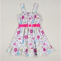 Toddler Sunshine Flowers Sundress with Belt