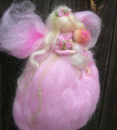 Needle felted wool fairy mommy with toddler pink Waldorf Inspired by Rebecca Varon Nushkie Design wm1