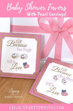 Because Two People Fell In Love Pink Baby Shower Favor With White Pearl Earrings Baby Shower Favors Girl, Baby Shower Purple, Purple Baby, Bridal Shower Favors, Baby Shower Games, Baby Shower Invitations, Unique Party Favors, People Fall In Love, Birthday Party Favors