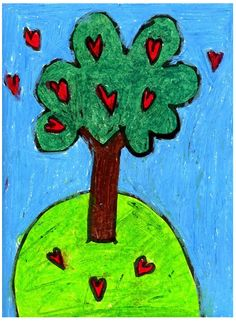 Heart Trees, with oil pastels. #Valentineart
