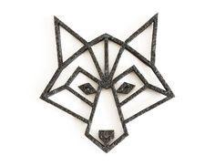 geometric wolf felt coaster