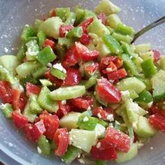 Summer Pepper Salad Allrecipes.com - maybe I could find a way to skip the fetid - I mean feta - cheese?  :}