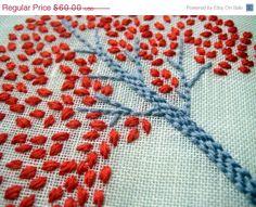 Orange Tree Hoop Art Hand Embroidered Wall Wear in 6 by mlmxoxo, $51.00