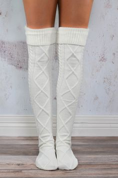 The Cream Cable Knit Boot Socks are stylish and cozy, making them a perfect choice for casual afternoons when looking effortlessly cute is of utmost importance! {Also available in charcoal.} - Our hig Winter Wear, Autumn Winter Fashion, Fall Outfits, Cute Outfits, Knit Boots, Thigh High Socks, Boot Socks, Knee Socks, Look Chic