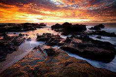 Sunset , Rocky shore/ Mar Azul, Mal Pais, Nicoya Peninsula/ Costa Rica