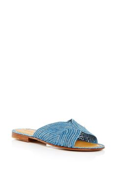 Turquoise Salon Slip On Sandals by Carrie Forbes for Preorder on Moda Operandi