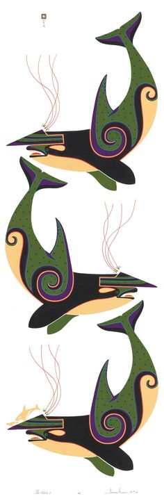 """The Catch"" -Orcas by Thomas Stream, Aleut artist.  Love his work!"