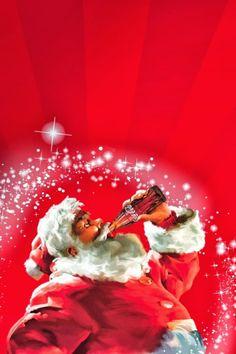 Santa Claus Enjoying a Bottle of Coke