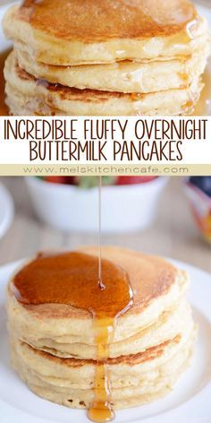 pancake recipe Youve never met a fluffier, tastier pancake until youve tried these overnight pancakes. The buttermilk batter is stirred together the night before so breakfast the next morning is easy as can be! Breakfast Desayunos, Breakfast Dishes, Breakfast Recipes, Night Before Breakfast, Overnight Breakfast, Brunch Recipes, Breakfast Ideas, Waffles, Best Pancake Recipe