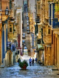 A street in Valletta, Malta...my family was lucky enough to visit this island by Italy back in July '12.