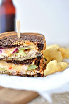 Grilled Adobo Turkey with Green Tomato and Smoked Cheddar Grilled Cheese + Chipotle Honey Mayo.