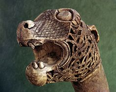 "Animal Head Prow of a Viking ship burial at Oseberg, Norway; c. AD 825; Wood; Height of head 5""; 'Animal Style';"