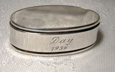 Danish 830 Solid Silver NAPKIN RING 1950s Svend Hoxvaerd Silver Napkin Rings, Makers Mark, Copenhagen, Flatware, Danish, Antique Jewelry, 1950s, Napkins, Rings For Men