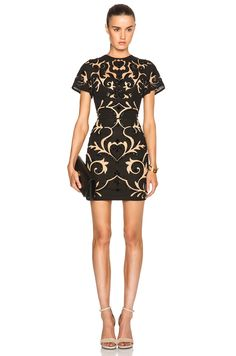 Image 1 of Zuhair Murad Embroidered Mini Dress in Caviar