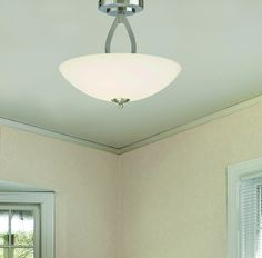 Patriot Lighting® Audrey Semi-Flush Ceiling Light with Brushed Nickel Finish and Flat Opal Glass