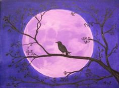 Crow Moon: Original Acrylic Painting on Canvas by Adele Whittle (Tiddu), via Flickr