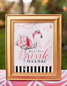 Flamingo Fiesta Girls Night In {Part Dinner & Drinks} + Free Printables - Girl Party Ideas Pink Flamingo Party, Flamingo Baby Shower, Flamingo Birthday, Pink Flamingos, Flamingo Beach, Flamingo Gifts, Pink Parties, Birthday Parties, 33rd Birthday