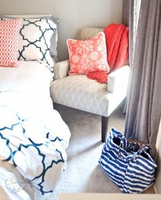 "Second guest bedroom gorgeous navy + coral room makeover: chair + grey ""linen"" curtains from Target {Centsational Girl} Navy Coral Bedroom, Navy Bedrooms, Teen Girl Bedrooms, Gray Bedroom, Teen Bedroom, Home Bedroom, Bedroom Decor, Coral Navy, Bedroom Ideas"