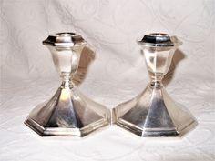 "2 Wallace Bros.4"" Heavy Silverplate 5010 Alden Design Console Candle Holders EUC #WallaceSilversmiths"
